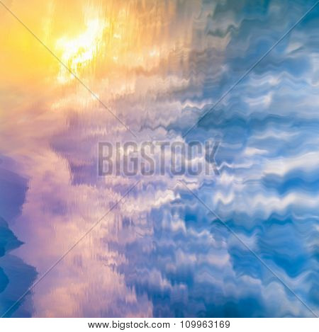 natural landscape with cloudy sky reflected in water
