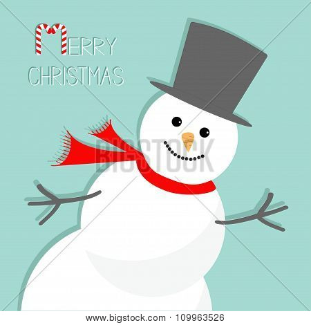 Cartoon Snowman In The Corner. Blue Background. Merry Christmas Card Flat Design