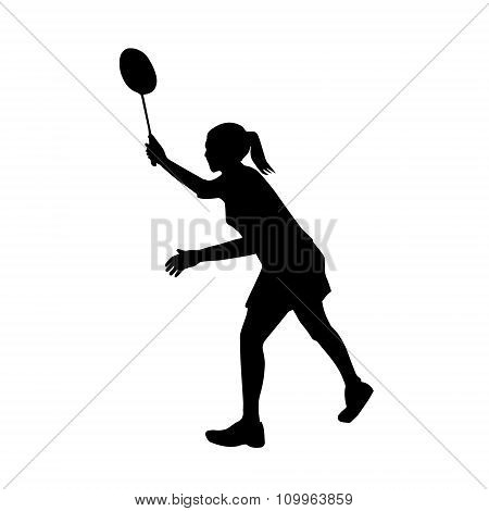 Silhouette Of Professional Female Badminton Player