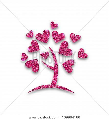 Concept of Tree with Shimmering Heart Leaves