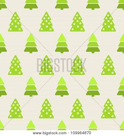 Seamless Christmas pattern green fir and pine tree
