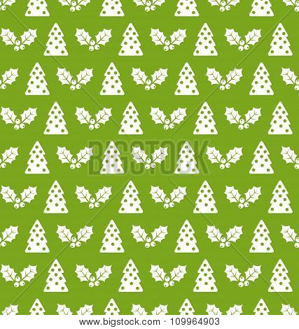 Seamless Christmas pattern fir tree and holly berry
