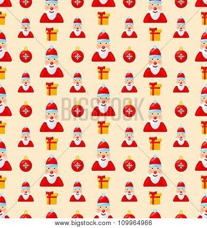 Merry Christmas seamless pattern with Santa and gifts