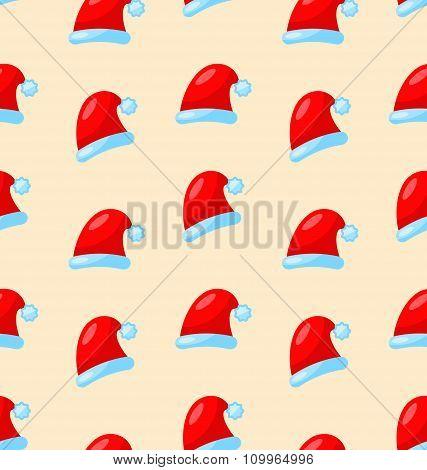 Seamless Christmas pattern Santa red hats