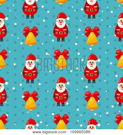 Merry Christmas seamless pattern with Santa and jingle bell
