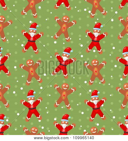 Seamless Christmas pattern with Santa Claus snow and candy cane