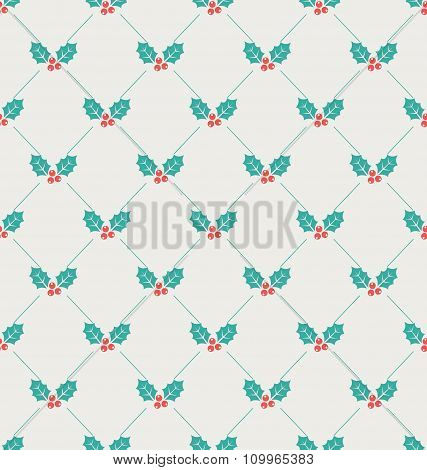 Vintage Seamless Wallpaper with Holly Berries