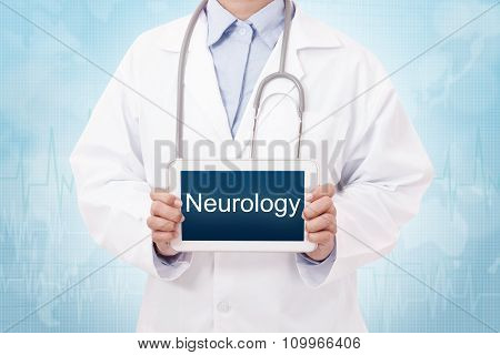 Doctor holding a tablet pc with neurology sign.