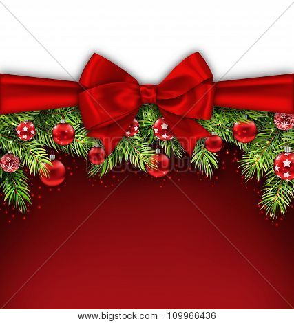 Christmas Postcard with Bow Ribbon