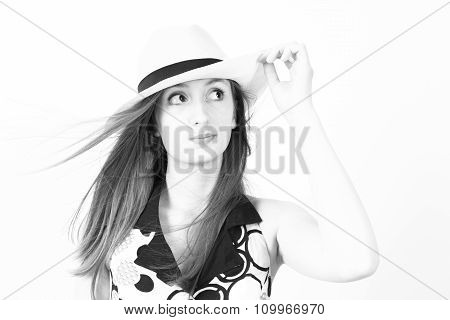 Stylish Young Woman In A Hat