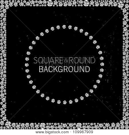 Round And Square Frame Made Of Diamonds Or Rhinestones