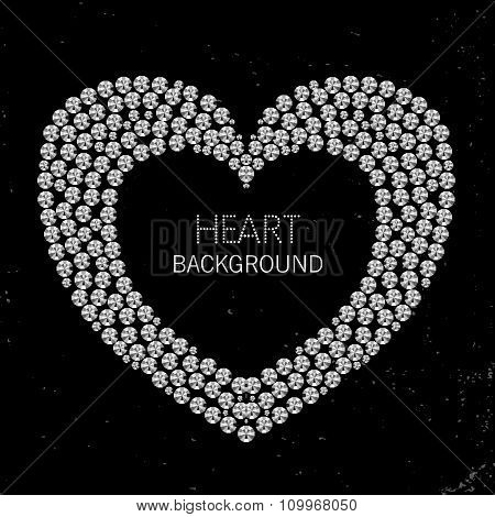 Heart Frame Made Of Diamonds Or Rhinestones