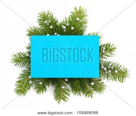Christmas decoration with greeting card isolated on white background
