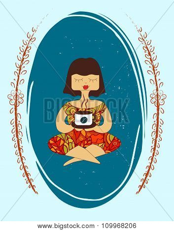 Vector Illustration Of Girl With A Cup On Oval Frame