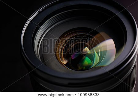 photography, object and art concept - close up of camera lens