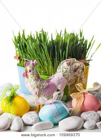 Easter decoration with green grass,eggs and chicken