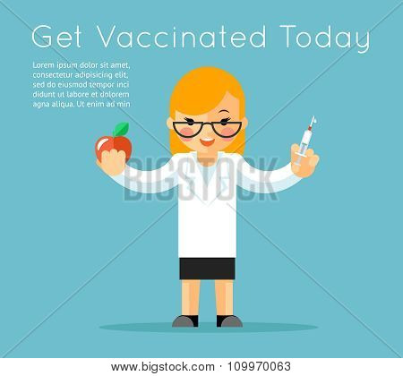 Doctor with syringe. Medical vaccination background