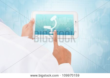 Doctor hand touch screen Microscope symbol on a tablet. medical icon