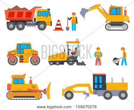 Road under construction flat vector icons set