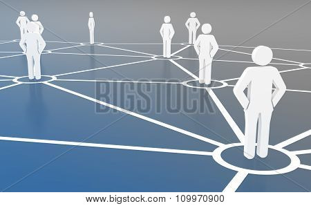 Group of people talking on global social networks