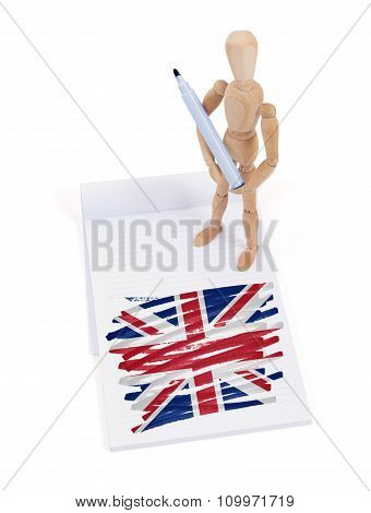 Wooden Mannequin Made A Drawing - United Kingdom