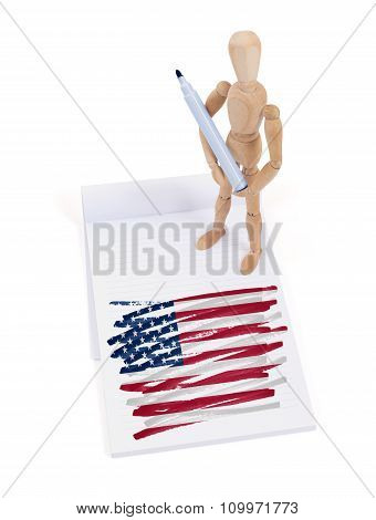 Wooden Mannequin Made A Drawing - Usa