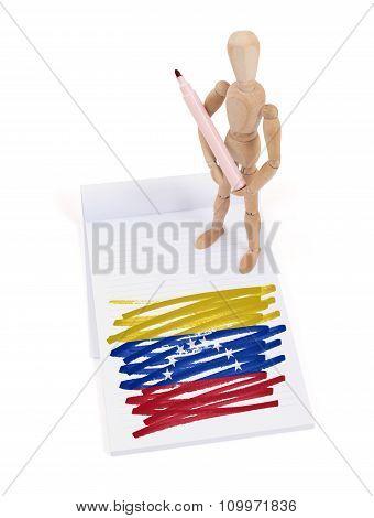 Wooden Mannequin Made A Drawing - Venezuela