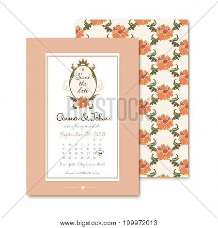 template vintage wedding invitations. Vector illustration