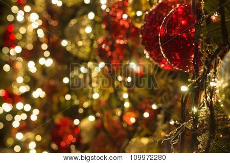 Christmas Decoration Background With Shimmering Lights