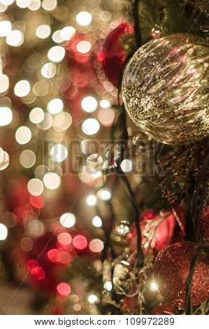 New Year Decoration Background With Bokeh Lights