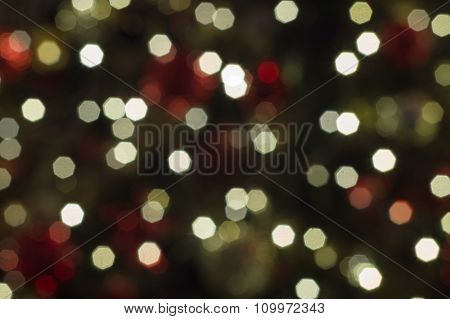 Abstract Christmas Background With Defocused Octagon Lights
