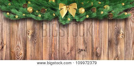 Christmas Ornament Over Wooden Planks 3D Rendering