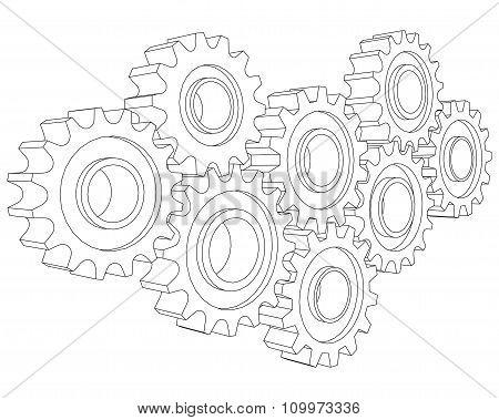 Vector Cog wheel gear mechanism close-up. White background