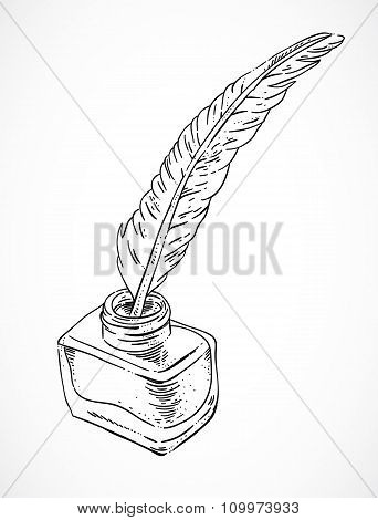 Hand sketched inkwell. Vintage inkwell, ink and feather. Vector illustration