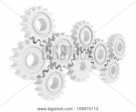 Cog wheel gear mechanism close-up. White background