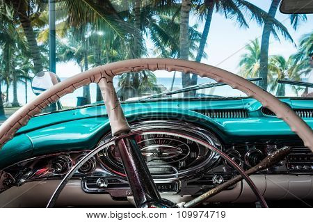 Interior view from a classic car in Cuba