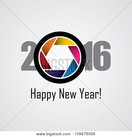 Happy New Year 2016 Vector Design Icon As A Camera