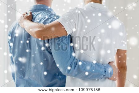 people, homosexuality, same-sex marriage, gay and love concept - close up of happy male gay couple or friends hugging from back over snow effect