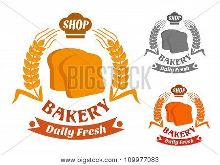 Bakery shop symbol with golden crispy toasts