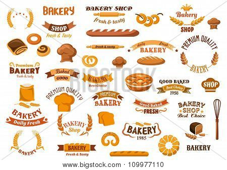 Bakery and pastry isolated design elements