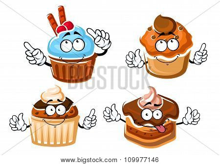 Chocolate cake, cupcake and caramel muffins