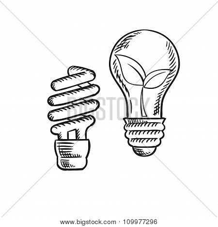 Sketch of save energy and old light bulb