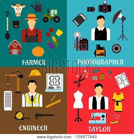 Farmer, engineer, photographer and tailor icons