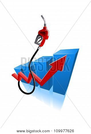 Growing bar graph with gasoline pump nozzle