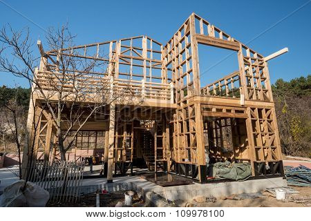 Wooden frame of a new house under construction