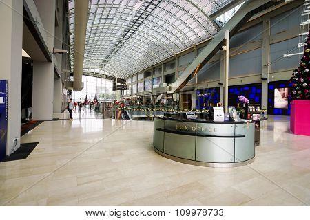 SINGAPORE - NOVEMBER 08, 2015: interior of The Shoppes at Marina Bay Sands. The Shoppes at Marina Bay Sands is one of Singapore's largest luxury shopping malls