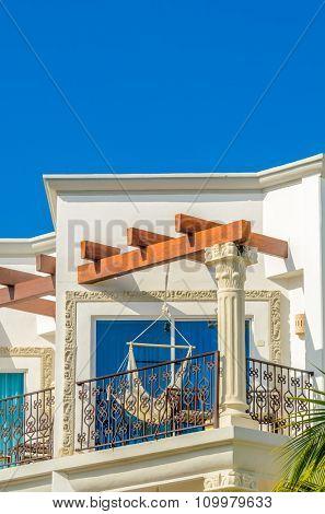 Modern apartment buildings in Playa Del Carmen, Mexico.