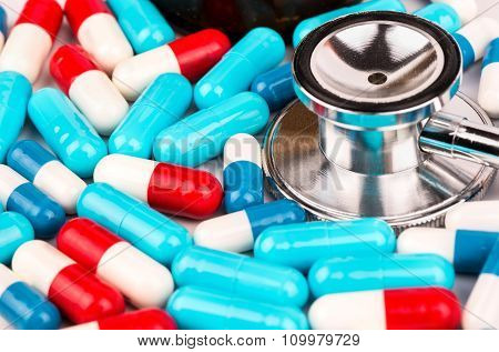 Capsules And Stethoscope