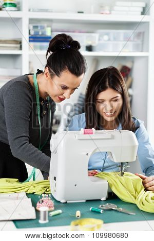 Two women in a sewing workshop