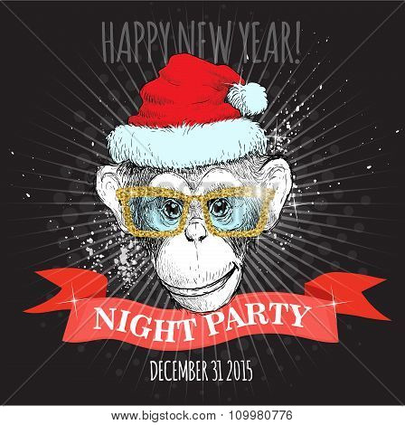 Chimpanzee monkey Hipster with glitter glasses and Christmas hat.